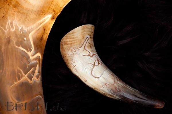 graviertes Horn von innen beleuchtet