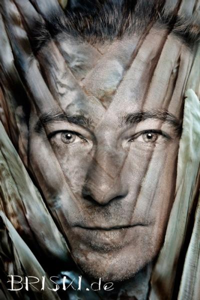 Portrait eines Mannes - Composing mit Blättern